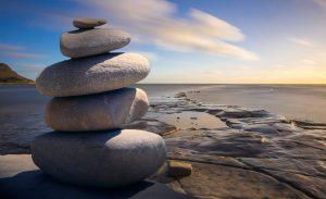 Layered stones on the beach